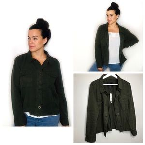 SANCTUARY Green Crop Trench Jacket